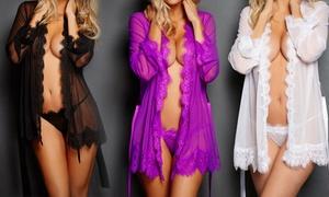 Kimono en dentelle/satin