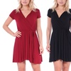 Women's Solid Wrap Swing Dress