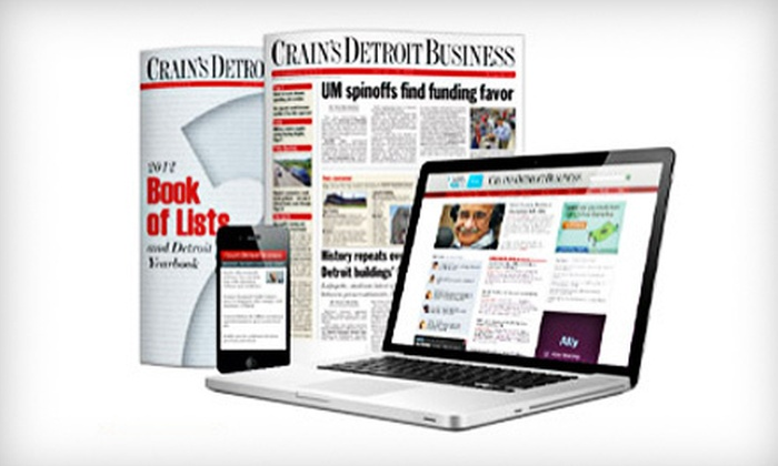 """""""Crain's Detroit Business"""" - Kalamazoo: One-Year Online Subscription or Online and Print Subscription to """"Crain's Detroit Business"""" (Up to 67% Off)"""