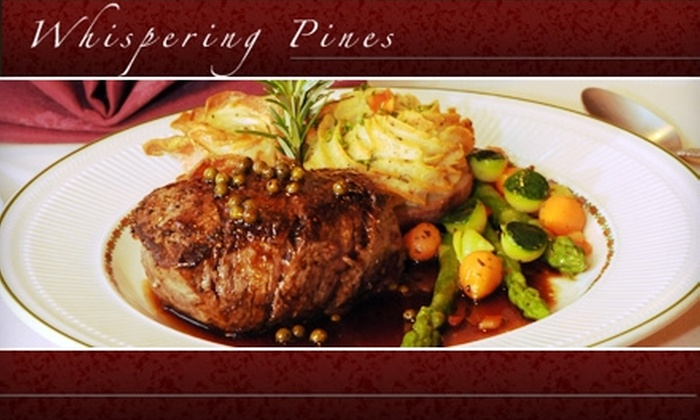 Whispering Pines Inn and Restaurant - Oklahoma City: $25 for $50 Worth of Fine Dining and Drinks at Whispering Pines Inn and Restaurant in Norman