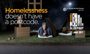 St.Vincent de Paul Society: Donate $20, $50 or up to $200 to Vinnies CEO Sleepout to Help Fight Homelessness