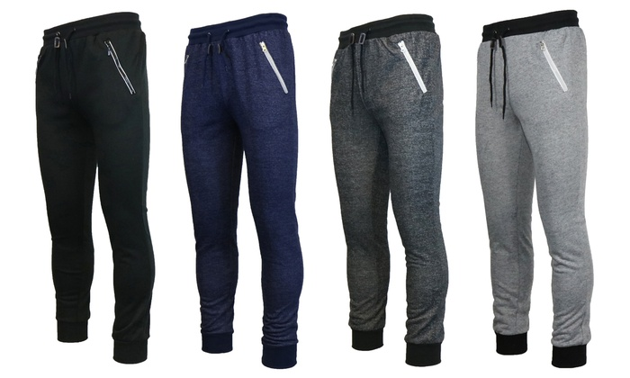 Galaxy By Harvic Men's Slim-Fit Joggers with Zippered Pockets (2-Pack)