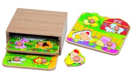 Kit de 3 puzzles de 4 pièces pour enfant, avec boutons à saisir