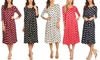 MOA Collection Women's Polka-Dot Print 3/4 Sleeve A-Line Midi Dress
