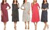 MOA Collection Women's Polka-Dot Print 3/4 Sleeve A-Line Midi Dress