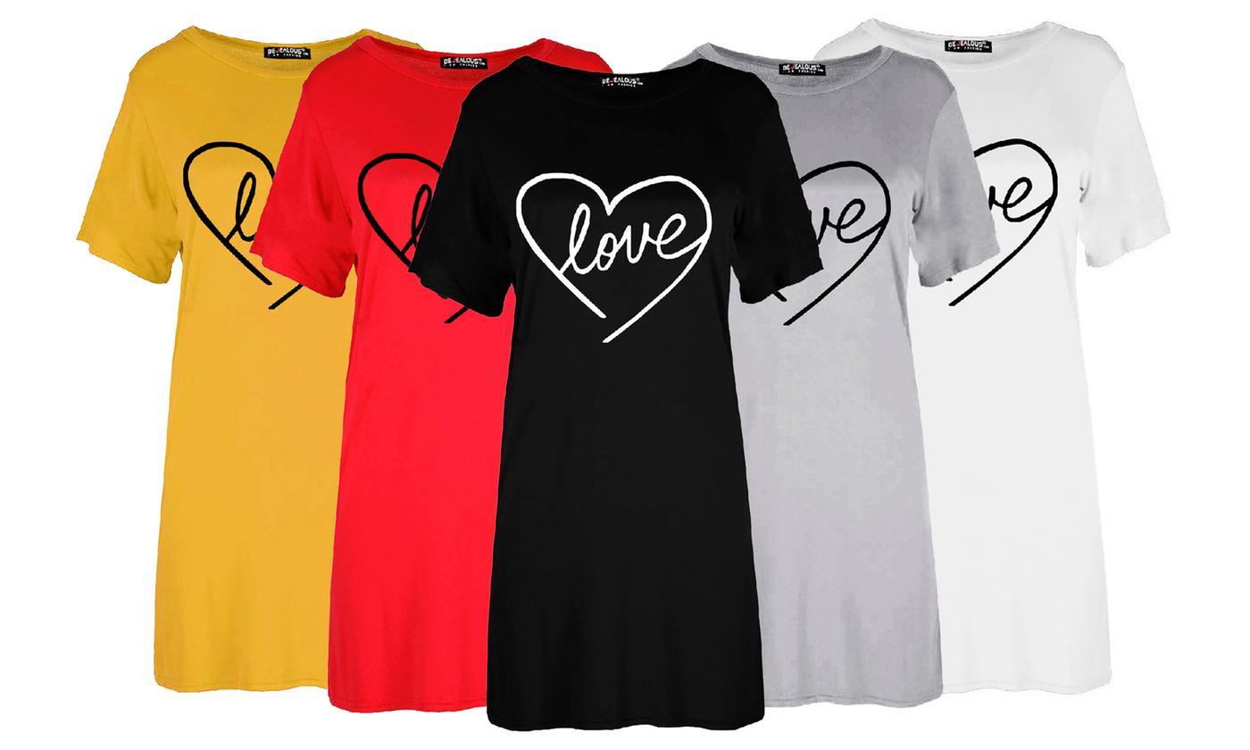 Oops Heart Print Baggy Short Sleeve T-Shirt Dress