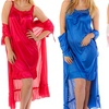 Women's Short-Sleeve Robe and Sleeveless Nightgown Set (2-Piece)