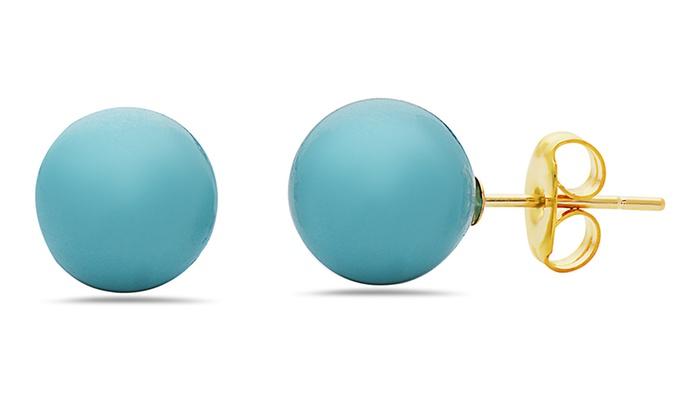 14k Gold Created Turquoise Stud Earrings By Muiblu Gems