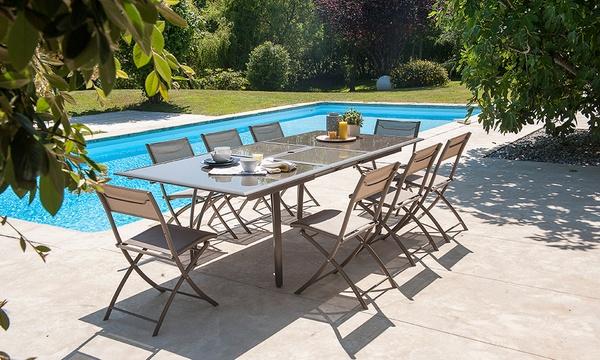 salon de jardin table en verre avec rallonge papillon 6 chaises pliantes