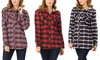 Women's Casual Plaid Button-Down Hoodie. Plus Sizes Available
