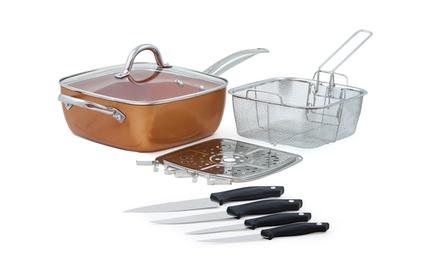Poêle carrée anti adhésive en cuivre avec panier et 4 couteaux en acier