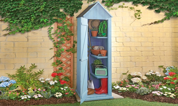 Beach hut or sentry garden storage shed in choice of for Storage huts for garden