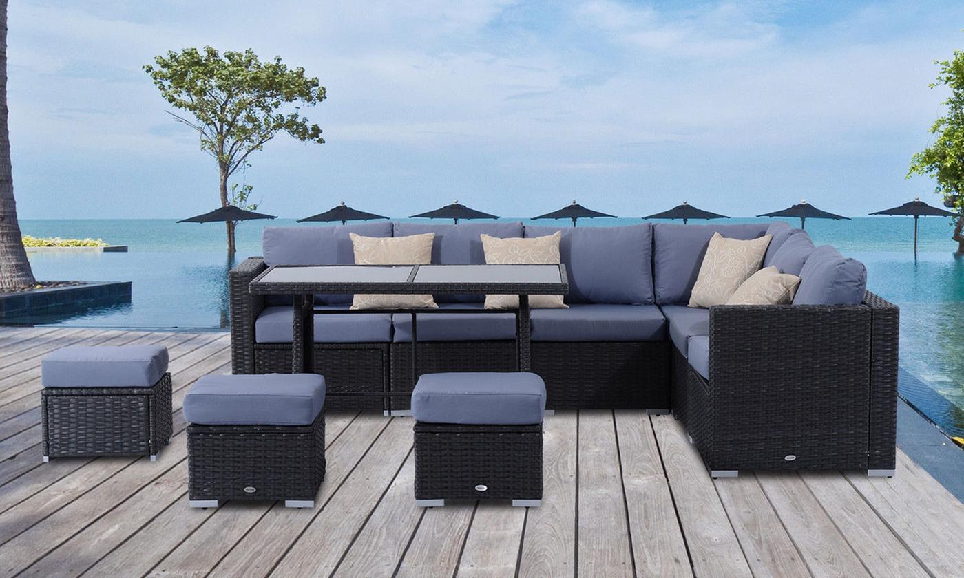 outsunny rattan-effect corner sofa sets