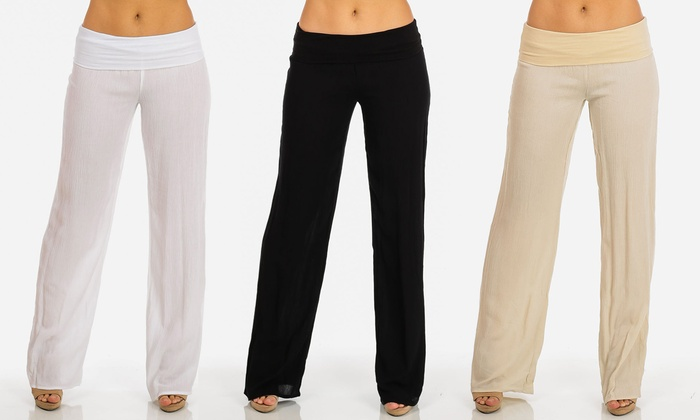 Women's Juniors' High-Waist Wide-Leg Gauze Fold-Over Pants
