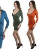 Women's 3/4-Sleeve V-neck Ruched Dress