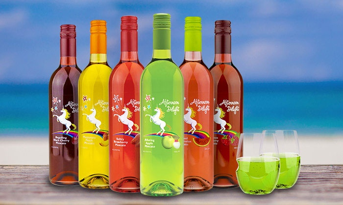Afternoon Delight: 6 or 12 Bottles of Fruit-Infused Moscato with Govino Wine Glasses from Afternoon Delight (62% Off)