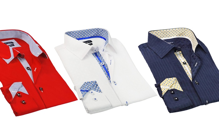 Rosso Milano Modern-Fit Men's Dress Shirts. Regular and Extended Sizes Available.