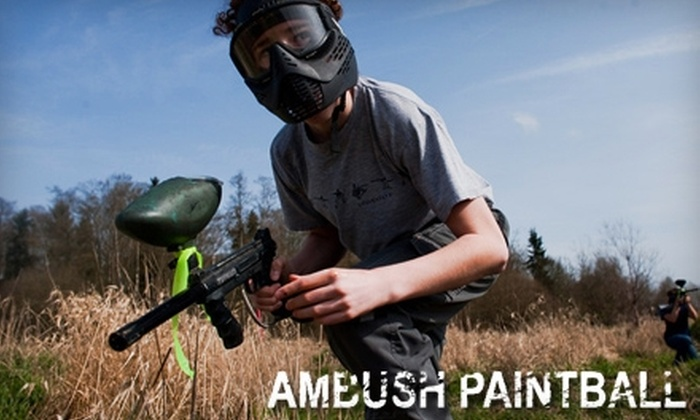 Ambush Paintball - Newton: $25 for Two Admissions, Gear Rentals, and 200 Total Paintballs at Ambush Paintball (Up to $50 Value)