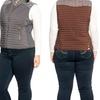 Women's Plus Size Quilted Vest with Cotton-Melange Contrast