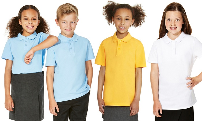 31e63f8bc Unisex Kids' Short Sleeved Polo Pique Shirts (5-Pack)