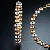 18K Tri-Color Gold Plated Overlay Italian Ball Hoop Earrings by Sevil
