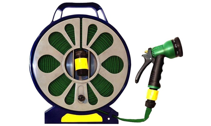 50ft Garden Flat Hose Pipe and Reel with Spray Gun for £7.99