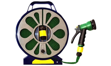 50ft Garden Flat Hose Pipe and Reel with Spray Gun