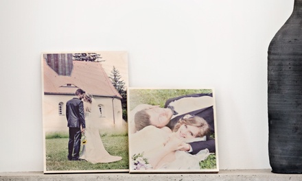 Small, Medium or Large Personalised Wood Wall Print: Square (from $10) or Rectangle (from $15) (Dont Pay up to $99.95)