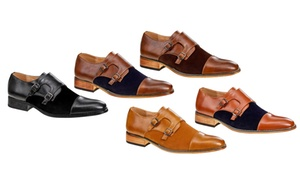 Signature Men's Monk-Strap Cap-Toe Dress Shoes