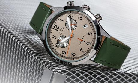 Reloj de cuero genuino con cronógrafo Elevon Antoine con fecha