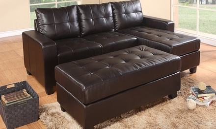 Three-Seater Sofa and Ottoman