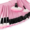 Professional Makeup Brush Set With Pink Faux Leather Case
