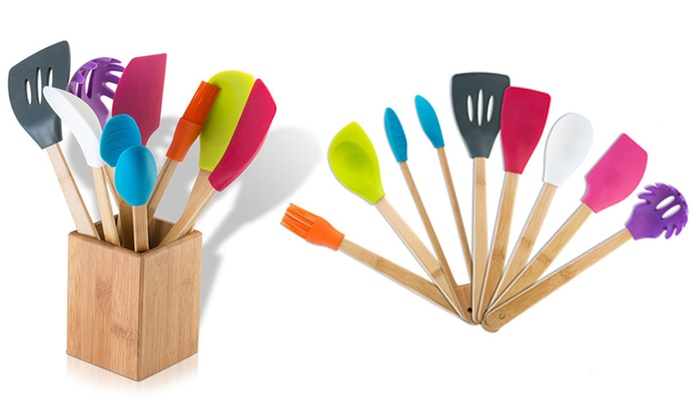 Modernhome Silicone Bamboo Kitchen Tool Set (9-Piece): Modernhome Silicone Bamboo Kitchen Tool Set (9-Piece)