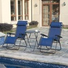 Beige Love Seat Glider or Blue Zero-Gravity Chairs and Table