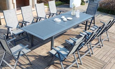 Salon jardin Dallia, table de jardin 10 personnes avec 6, 8 ou 10 ...