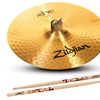 "Zildjian 15"" Fast Crash Cymbal and Drumsticks"
