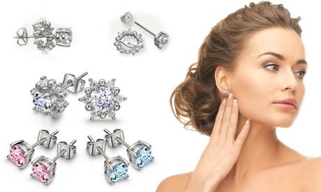 Set de 3 pares de pendientes adornados con cristales Swarovski®