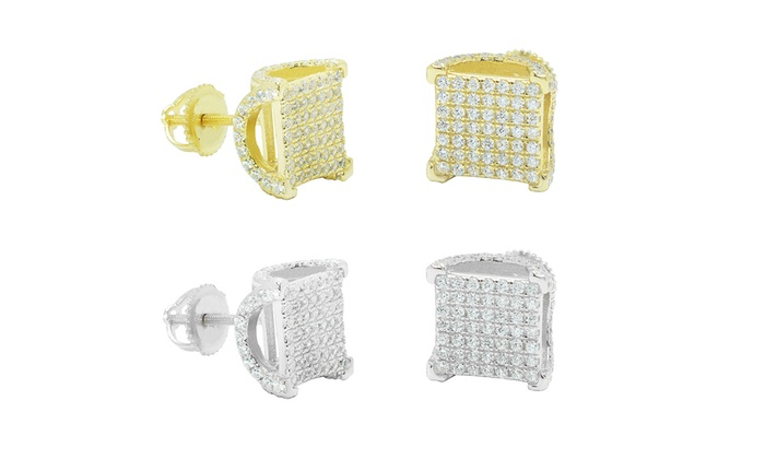 bf1b646c2 Men's Cubic Zirconia Micro Pave Square Earrings in Sterling Silver