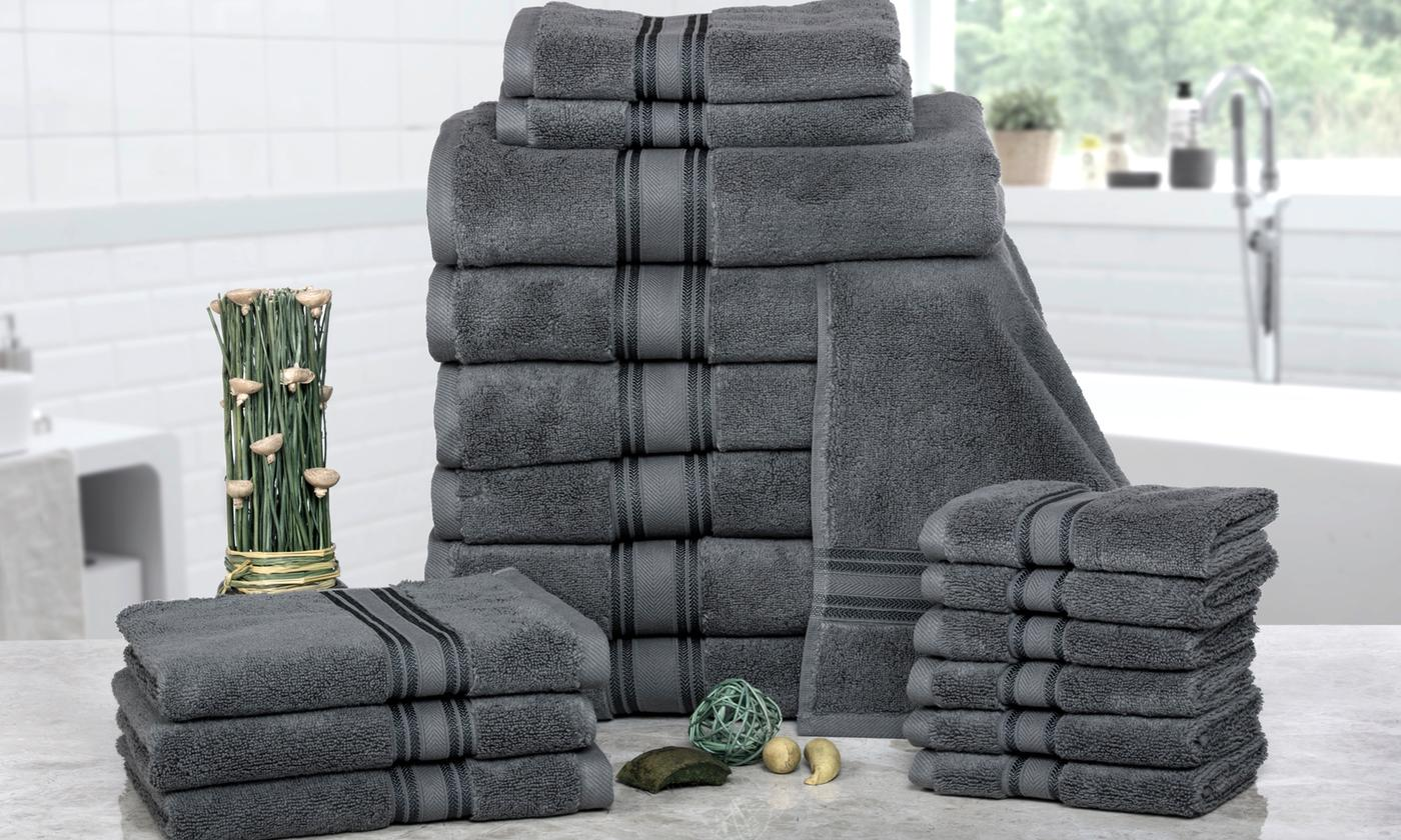 Save 78% on 100% Cotton Zero-Twist Towel Set (18-Piece)