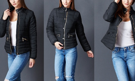 Ladies' Quilted Bomber Puffer Jacket with Dual Zipper Pockets