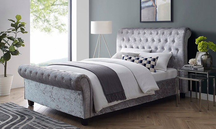 Cavandish Crushed Velvet Sleigh Bed with Optional Mattress from £249 (64% OFF)
