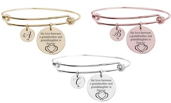 Grandmother & Granddaughter Cubic Zirconia Initial Bangle by Pink Box