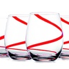 Stemless Red Swirl Wine Glasses (4-Pack)