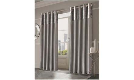 Sienna Manhattan Crushed Velvet Band Eyelet Curtains