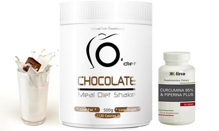 1 o 2 packs para ayudar a perder peso con 1 o 2 batidos y 30 o 60 cápsulas curcumina y piperina K-line