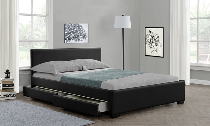 Comet Faux Leather Bed Frame with Optional LED and Mattress