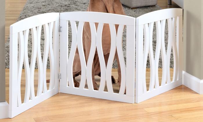 Attirant Adjustable Wavy Wooden Pet Gate Adjustable Wavy Wooden Pet Gate ...