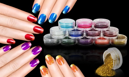 One or Two 12 Packs of Colour Nail and Eyeshadow Glitter Dust Powder