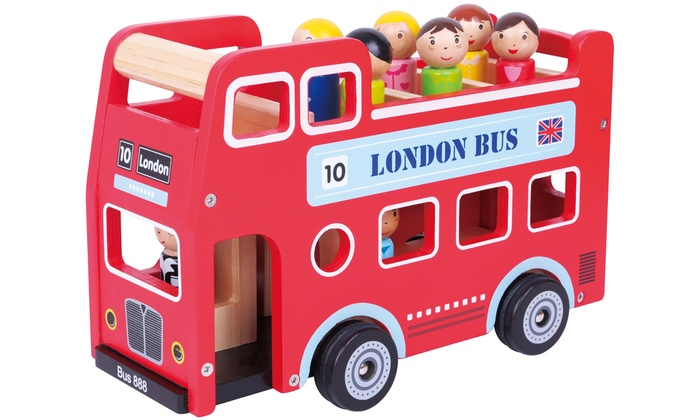Lelin Wooden Double-Decker London Bus Toy with Figurines
