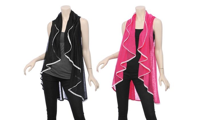 Women's Solid Pompom Vest